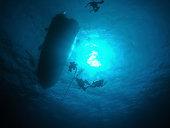 Four scuba divers accending to the dive boat