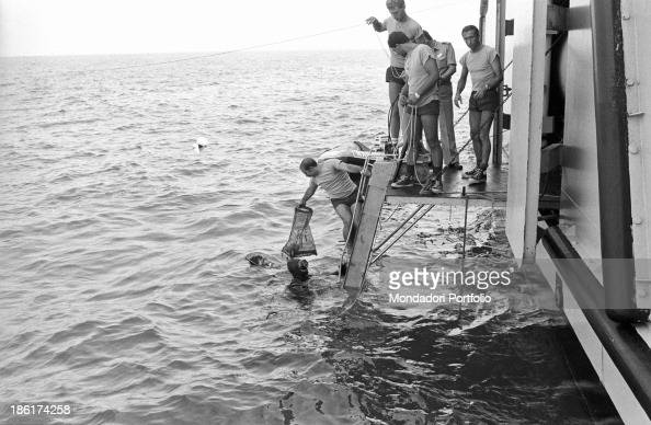 Scuba divers of the Varignano raiders department giving a net to their collegues of the submarine rescue ship Anteo After fortytwo years the Italian...