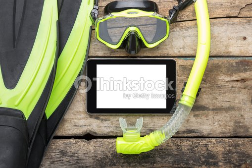 Scuba Diving Or Snorkelling Lesson Template Mock Up Background Stock Photo