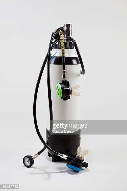 A scuba diving oxygen tank