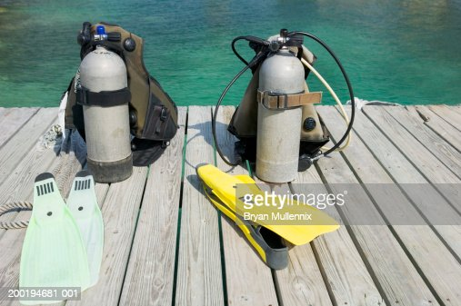 Scuba equipment on boat dock