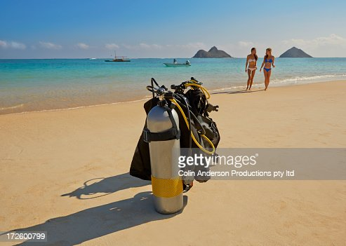 Scuba gear on beach