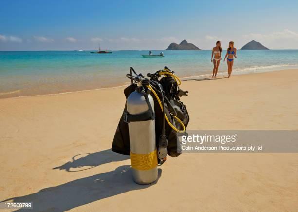 Scuba gear on beach