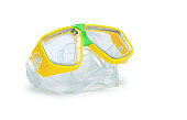 Modern yellow scuba goggles isolated on white background with clipping path