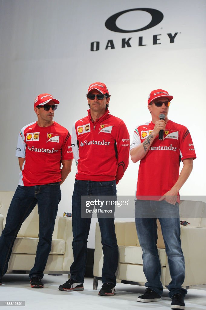 Scuderia Ferrari drivers <a gi-track='captionPersonalityLinkClicked' href=/galleries/search?phrase=Marc+Gene&family=editorial&specificpeople=217824 ng-click='$event.stopPropagation()'>Marc Gene</a> of Spain, <a gi-track='captionPersonalityLinkClicked' href=/galleries/search?phrase=Pedro+de+la+Rosa&family=editorial&specificpeople=576029 ng-click='$event.stopPropagation()'>Pedro de la Rosa</a> of Spain and Kimi Raikonnen of Finland attend The Official Oakley X Scuderia Ferrari Collection Launch on May 8, 2014 in Barcelona , Spain.