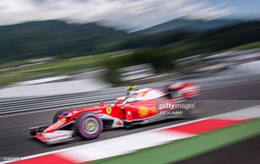 Scuderia Ferrari Finland's driver Kimi Raikkonen drives during the first practice session of the Formula One Grand Prix of Austria at the Red Bull Ring in Spielberg, Austria on July 1, 2016. / AFP / JOE