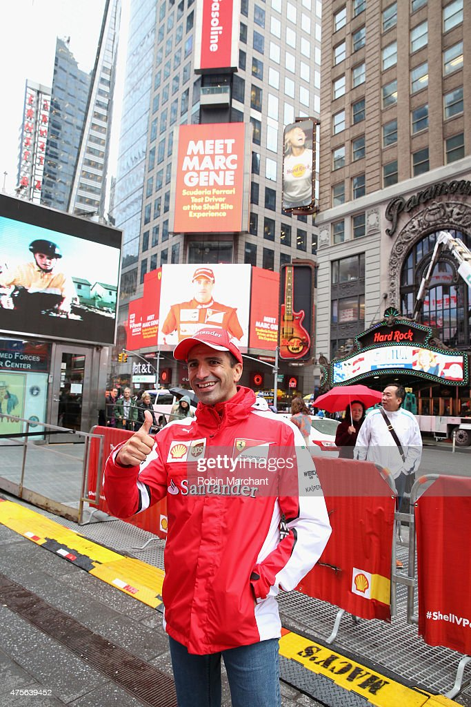 Scuderia Ferrari Test Driver <a gi-track='captionPersonalityLinkClicked' href=/galleries/search?phrase=Marc+Gene&family=editorial&specificpeople=217824 ng-click='$event.stopPropagation()'>Marc Gene</a> celebrates the North American launch of the new Shell V-Power NiTRO+ Premium Gasoline in Times Square on June 2, 2015 in New York City.