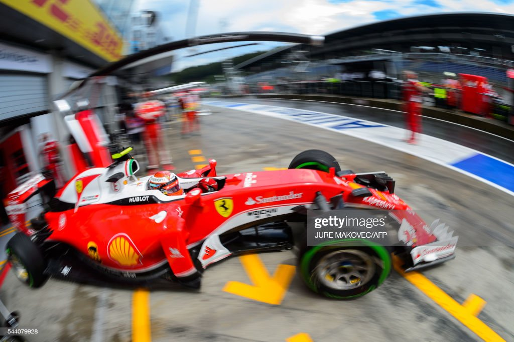 TOPSHOT - Scuderia Ferrari's Finish driver Kimi Raikkonen leaves the pit lane during the second practice session of the Formula One Grand Prix of Austria at the Red Bull Ring in Spielberg, Austria on July 1, 2016. / AFP / JURE