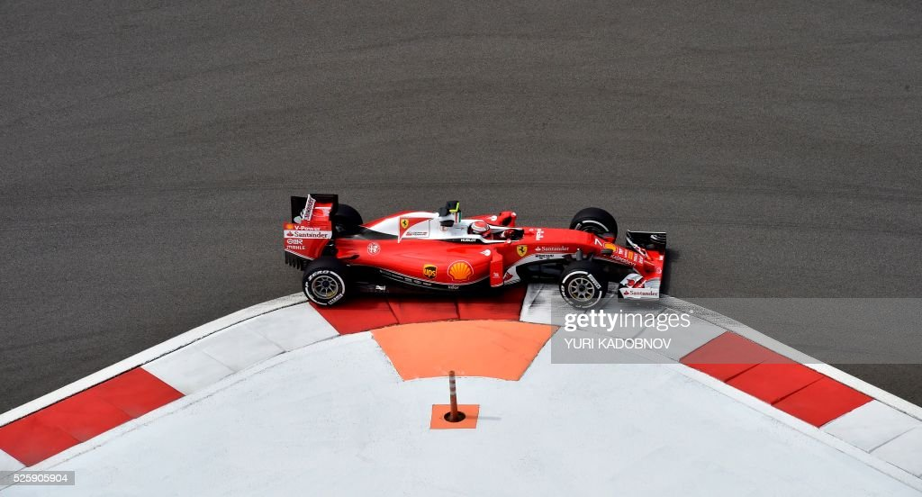 Scuderia Ferrari's Finnish driver Kimi Raikkonen steers his car during the first practice session of the Formula One Russian Grand Prix at the Sochi Autodrom circuit on April 29, 2016. / AFP / YURI