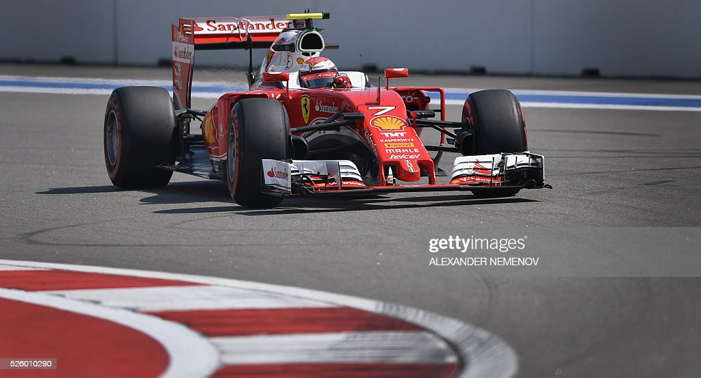 Scuderia Ferrari's Finnish driver Kimi Raikkonen steers his car during the second practice session of the Formula One Russian Grand Prix at the Sochi Autodrom circuit on April 29, 2016. / AFP / ALEXANDER