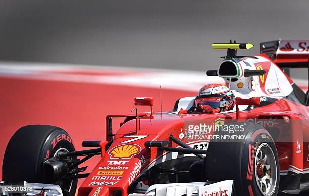Scuderia Ferrari's Finnish driver Kimi Raikkonen steers his car during the second practice session of the Formula One Russian Grand Prix at the Sochi...
