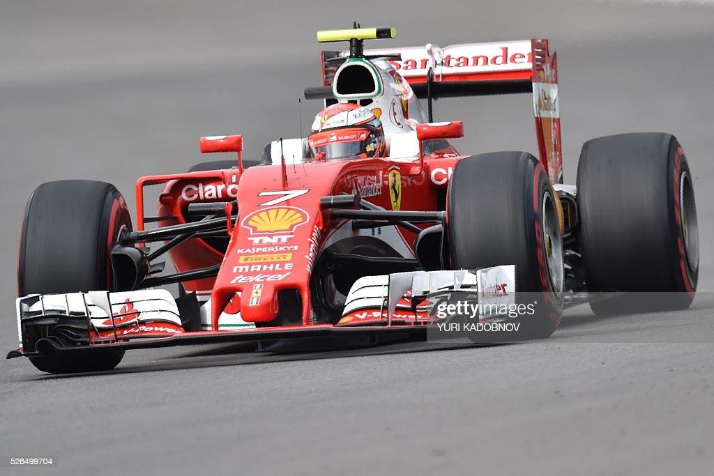 Scuderia Ferrari's Finnish driver Kimi Raikkonen steers his car during the qualifying session of the Formula One Russian Grand Prix at the Sochi Autodrom circuit on April 30, 2016. / AFP / YURI