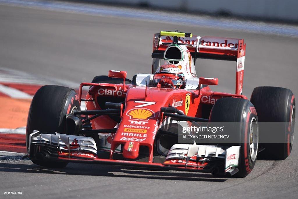 Scuderia Ferrari's Finnish driver Kimi Raikkonen steers his car during the Formula One Russian Grand Prix at the Sochi Autodrom circuit on May 1, 2016. / AFP / ALEXANDER