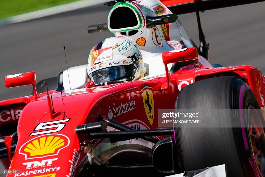 Scuderia Ferrari's German driver Sebastian Vettel drives during the first practice session of the Formula One Grand Prix of Austria at the Red Bull Ring in Spielberg, Austria on July 1, 2016. / AFP / Jure Makovec/