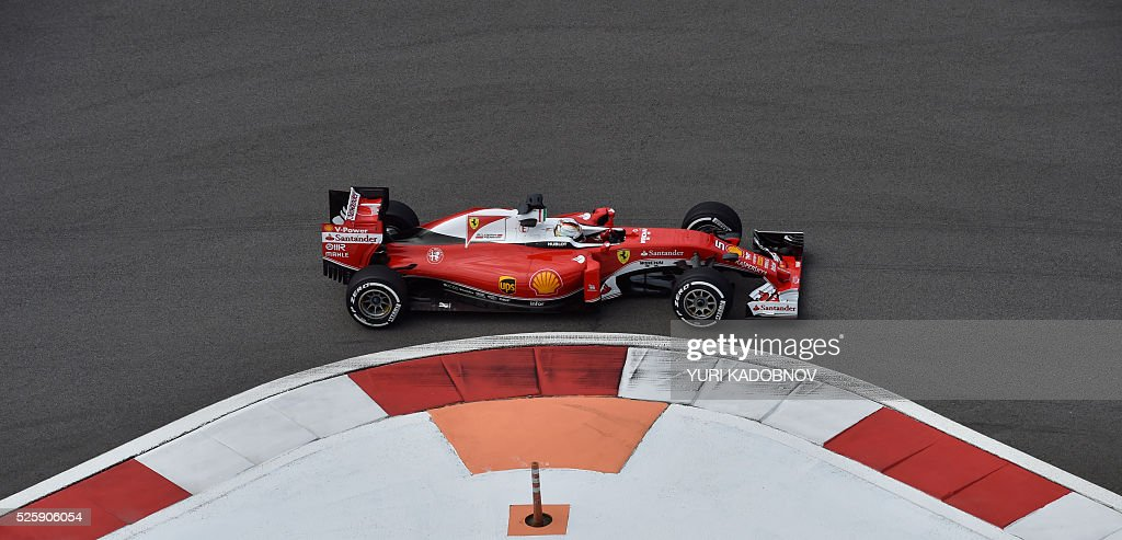 Scuderia Ferrari's German driver Sebastian Vettel steers his car during the first practice session of the Formula One Russian Grand Prix at the Sochi Autodrom circuit on April 29, 2016. / AFP / YURI