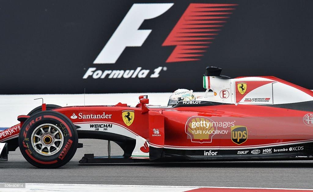 Scuderia Ferrari's German driver Sebastian Vettel steers his car during the qualifying session of the Formula One Russian Grand Prix at the Sochi Autodrom circuit on April 30, 2016. / AFP / YURI