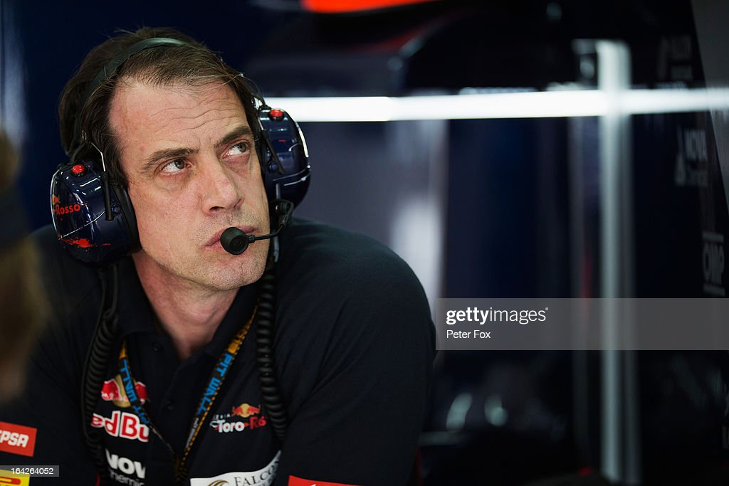 Scuderia Toro Rosso Chief Mechanic Corrado Cardinali is seen during practice for the Malaysian Formula One Grand Prix at the Sepang Circuit on March 22, 2013 in Kuala Lumpur, Malaysia.