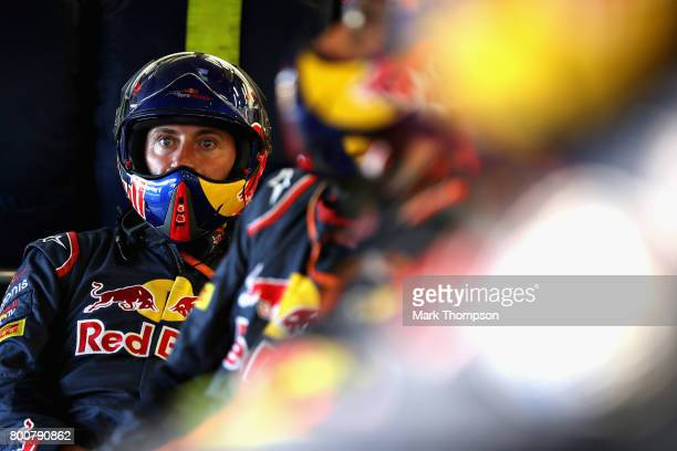 Scuderia Toro Rosso team member watches the action in the garage during the Azerbaijan Formula One Grand Prix at Baku City Circuit on June 25 2017 in...