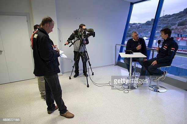 Scuderia Toro Rosso Technical Director James Key is interviewed by the media during day one of Formula One Winter Testing at the Circuito de Jerez on...