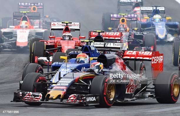 Scuderia Toro Rosso's BelgianDutch driver Max Verstappen and Sauber F1 Team's Brazilian driver Felipe Nasr compete at the Red Bull Ring in Spielberg...