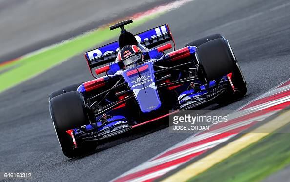 Scuderia Toro Rosso's Russian driver Daniil Kvyat drives at the Circuit de Catalunya on February 28 2017 in Montmelo on the outskirts of Barcelona...