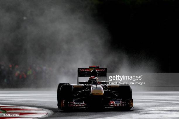 Scuderia Torro Rosso driver Sebastien Buemi of Switerland during practice during Practice for the Formula One Santander British Grand Prix at...