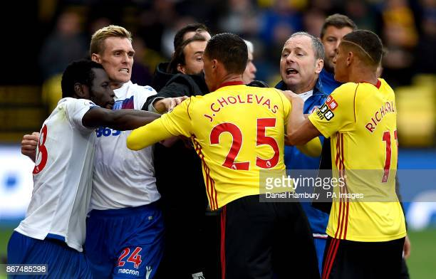 A scuffle between Watford and Stoke City players including Stoke City's Darren Fletcher and Watford's Jose Holebas during the Premier League match at...