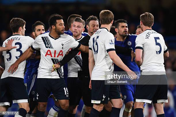 A scuffle breaks out after Eric Dier of Tottenham Hotspur brings down Eden Hazard of Chelsea during the Barclays Premier League match between Chelsea...