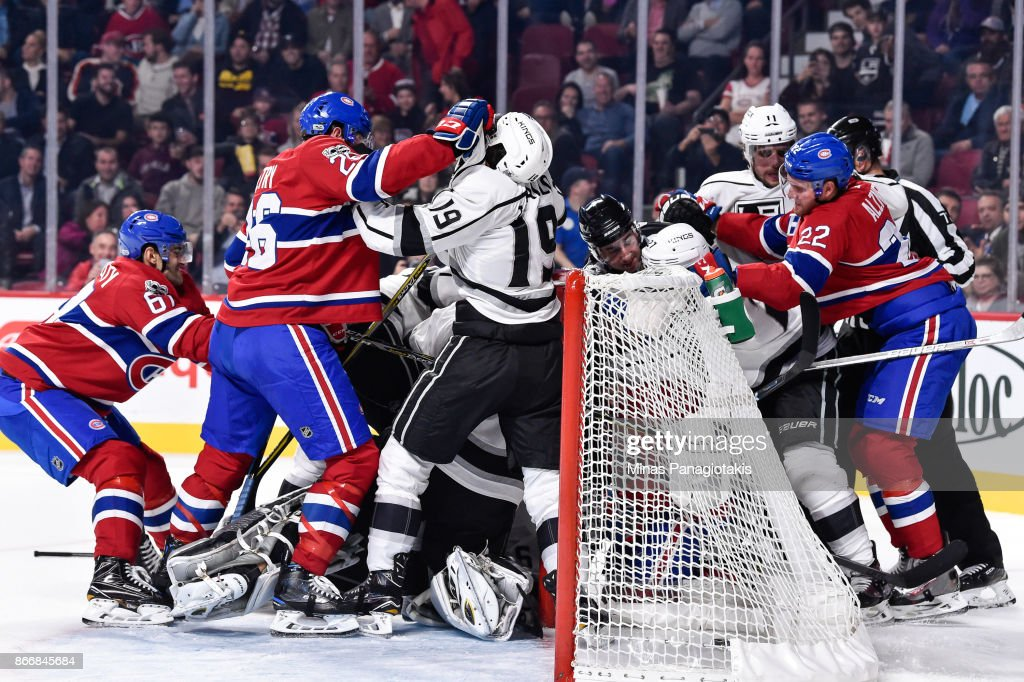 A scuffle breaks out between members of the Los Angeles Kings and the Montreal Canadiens during the NHL game at the Bell Centre on October 26, 2017 in Montreal, Quebec, Canada.