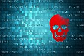 Scull on blue digital background. security concepts.