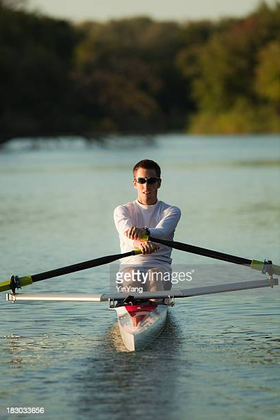 Sculling Athletic Rower Sport Rowing a Nautical Vessel on Lake