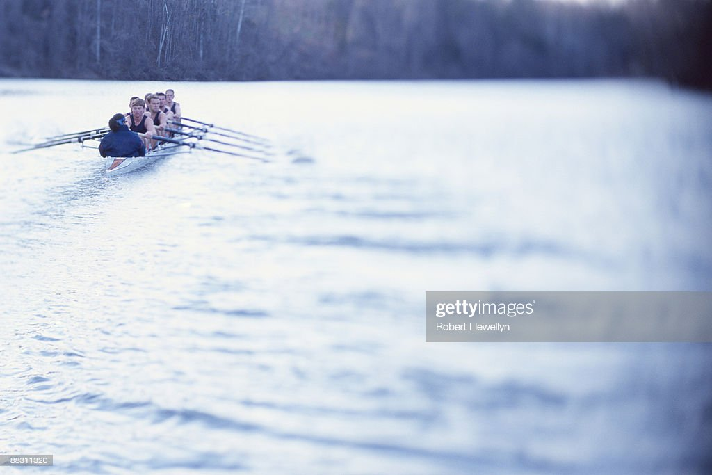 Sculling team rowing on water