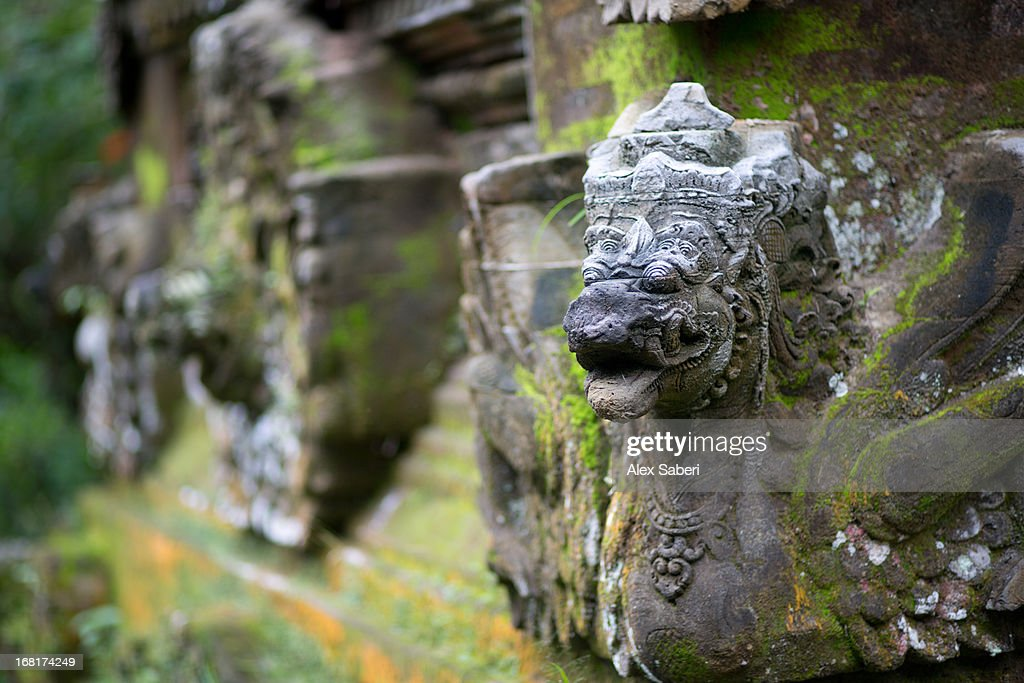 A sculpted temple ornament on a Balinese temple near Ubud. : Stock Photo