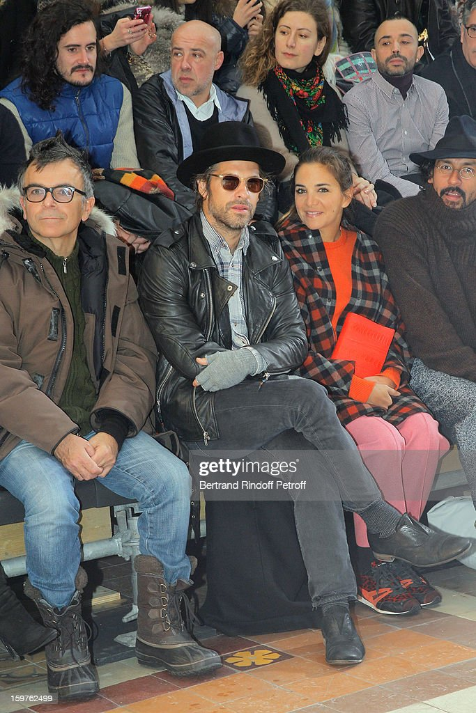 Sculptor Fabrice Hyber, Aaron Young and Laure Heriard Dubreuil attend the Lanvin Men Autumn / Winter 2013 show at Ecole Nationale Superieure Des Beaux-Arts as part of Paris Fashion Week on January 20, 2013 in Paris, France.