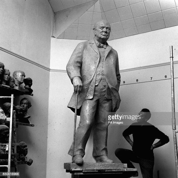 Sculptor Franta Belsky with his statue of Sir Winston Churchill at his Kensington studio The bronze cast eight feet high will go to Fulton Missouri...