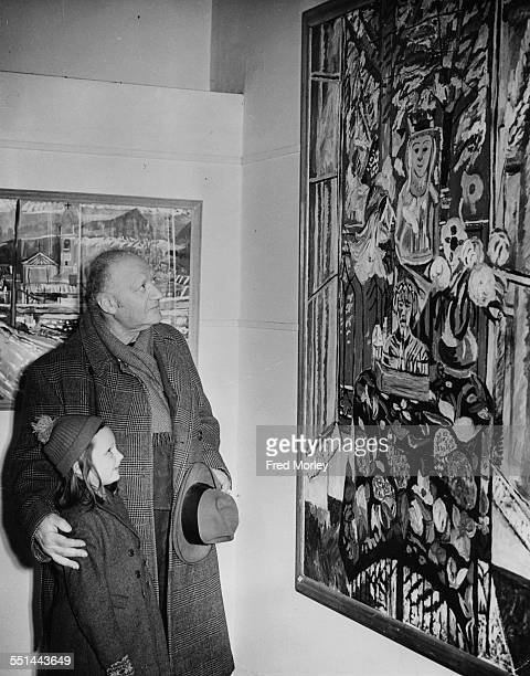 Sculptor Jacob Epstein attending an exhibition of paintings by Theodore Garman at the Redfern Gallery London March 4th 1952
