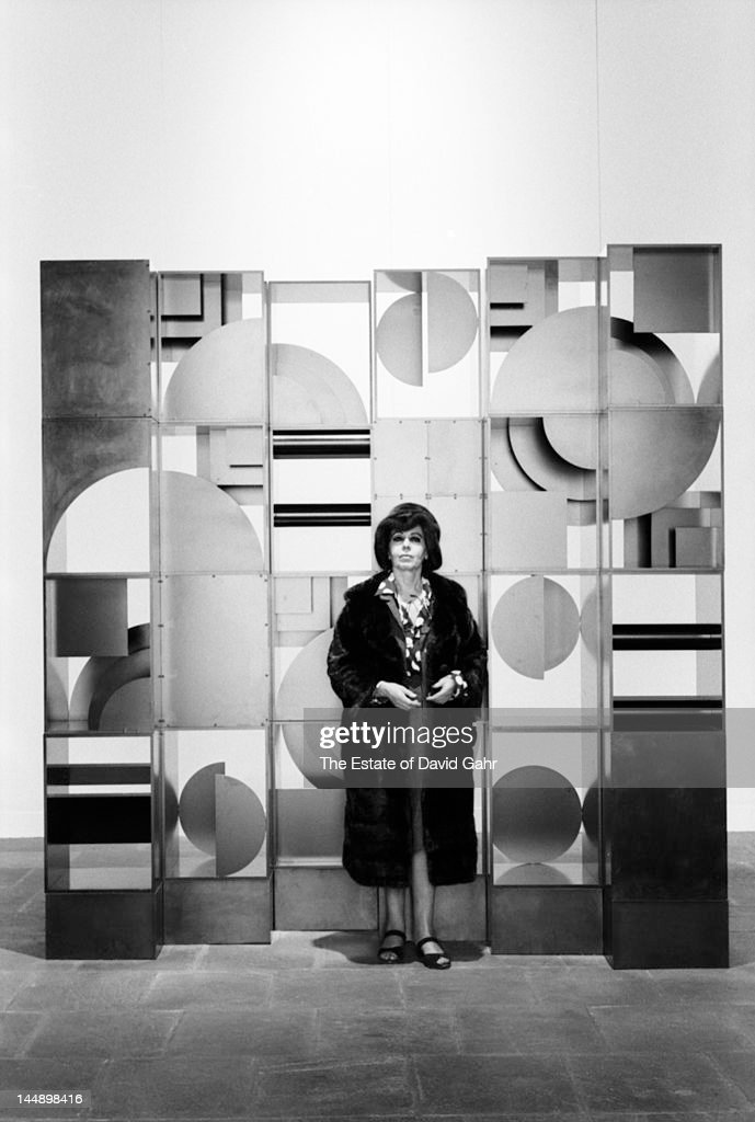 Sculptor Louise Nevelson poses for a portrait with a selection of her sculpture on April 14 1967 at a retrospective exhibition of her career at the...