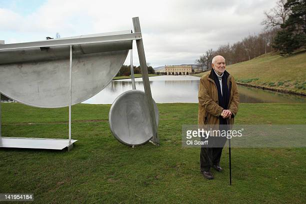 Sculptor Sir Anthony Caro poses for photographs in the grounds of Chatsworth House alongside his sculptures which feature in the 'Caro at Chatsworth'...