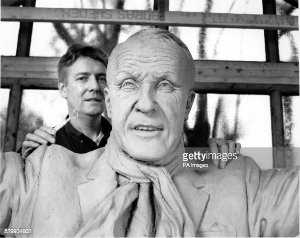 Sculptor Tom Murphy with the statue that he designed and produced of Legendary Liverpool manager Bill Shankly The statue will be unveiled at Anfield...
