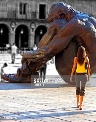 Sculpture and girl