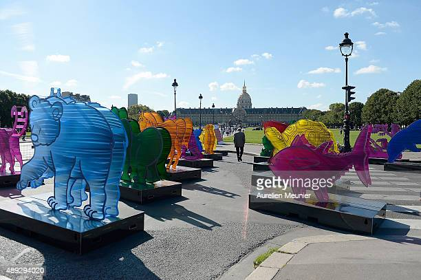 Sculpture animals by French artist Gad Weil are on display at jardin des Invalides in front of the Invalides Museum on September 20 2015 in Paris...