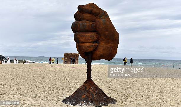 A sculpture by an artist Nortel Flavel is displayed at the 'Sculpture by the Sea' exhibition which runs along the Bondi to Tamarama coastal walk in...