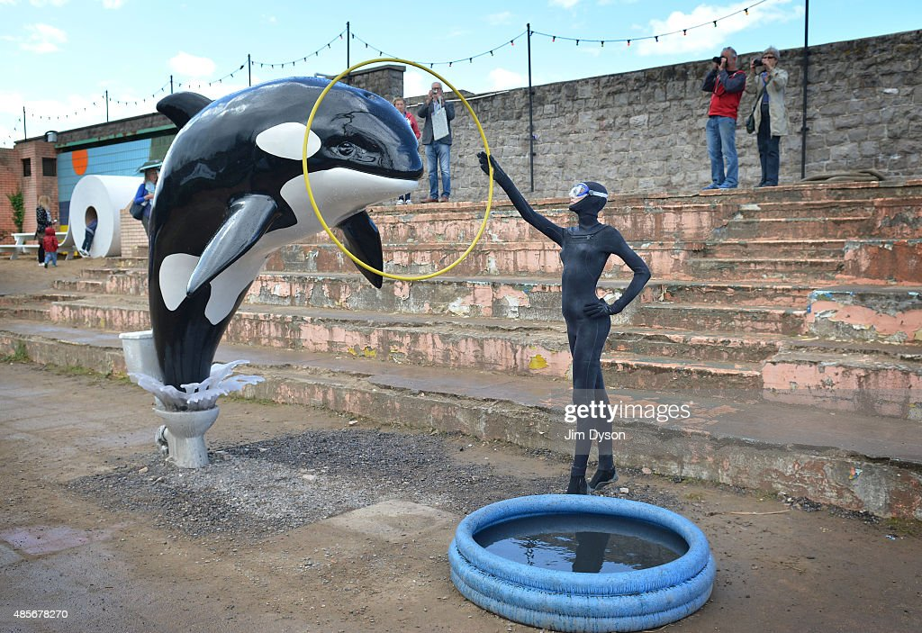 A sculpture by Banksy depicting a killer whale jumping out of a toilet and into a paddling pool, as Banksy's Dismaland Bemusement Park opens to the public, on August 28, 2015 in Weston-Super-Mare, England. Graffiti artist Banksy has opened the subversive, pop-up theme park styled exhibition at the derelict seafront Tropicana lido, featuring the work of 50 artists. The 'Bemusement Park' combines dark humour and 'entry-level anarchism' and will open for just five weeks.