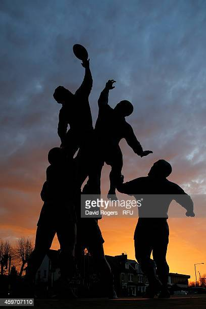 A sculpture by Gerald Laing is seen at sunrise outside Twickenham Stadium prior to the QBE international match between England and Australia at...