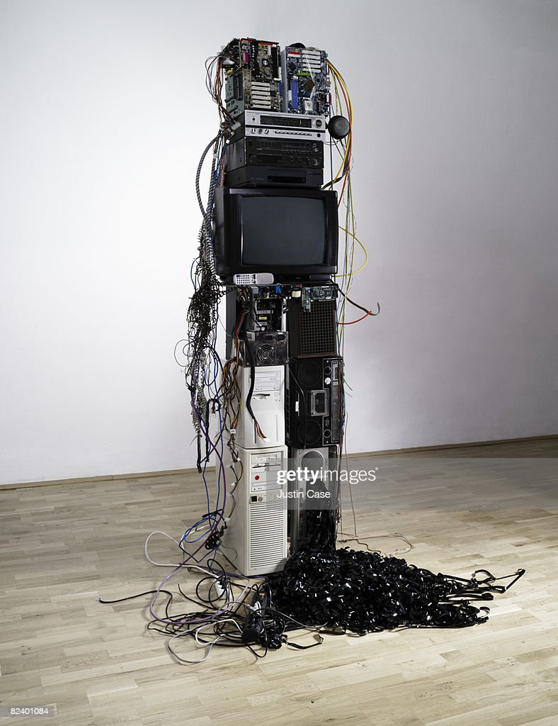 Sculpture constructed from electrical equipme : Stock Photo