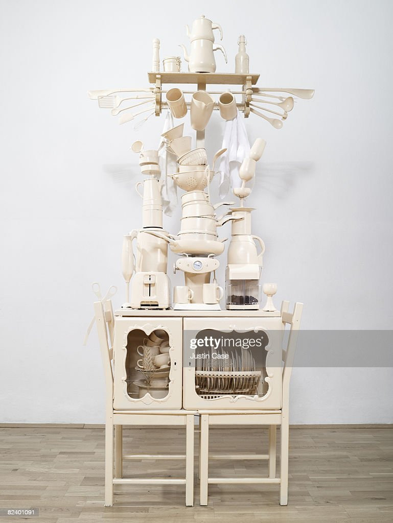 Sculpture constructed from kitchen items : Stock Photo