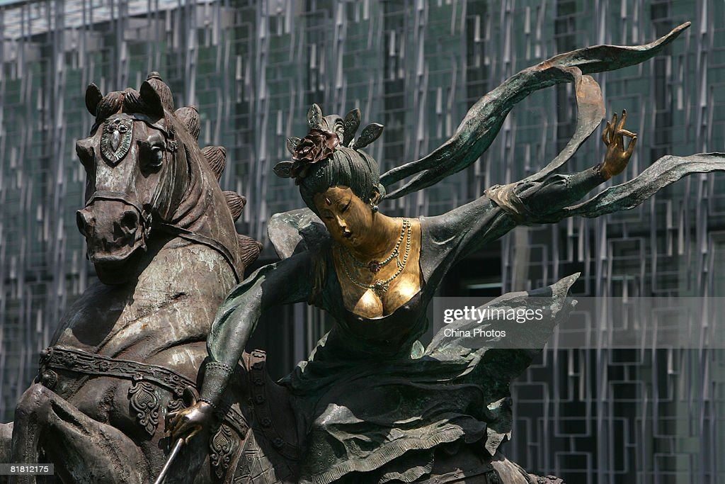 A sculpture depicting a women playing polo in ancient China is seen at the Olympic Green area on July 3, 2008 in Beijing, China. Beijing's Olympic Green is the core of the Olympic Games and the site of thirteen venues, including the National Stadium and the National Aquatics Center.