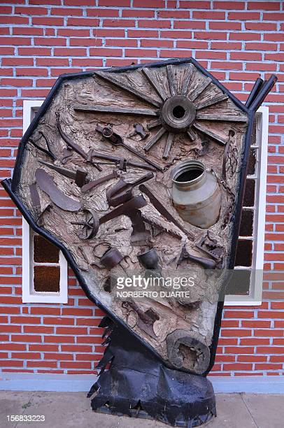 A sculpture depicting the map of Chaco made with tools used by the Mennonites is seen in Filadelfia 500km north of Asuncion Paraguay on November 3...