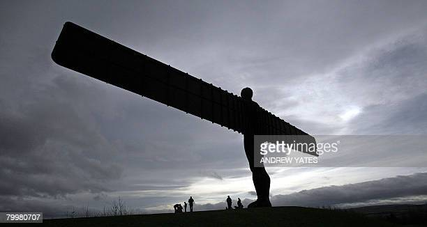 A sculpture entitled 'Angel of the North' by British artist Antony Gormley is pictured near Gateshead in northeast England on February 23 2008 It is...