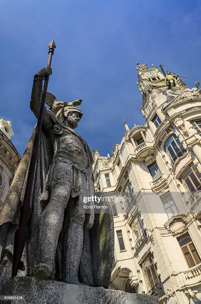 Sculpture in the square of Freedom, Porto portugal : Stock Photo